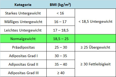 Berechnung body mass index